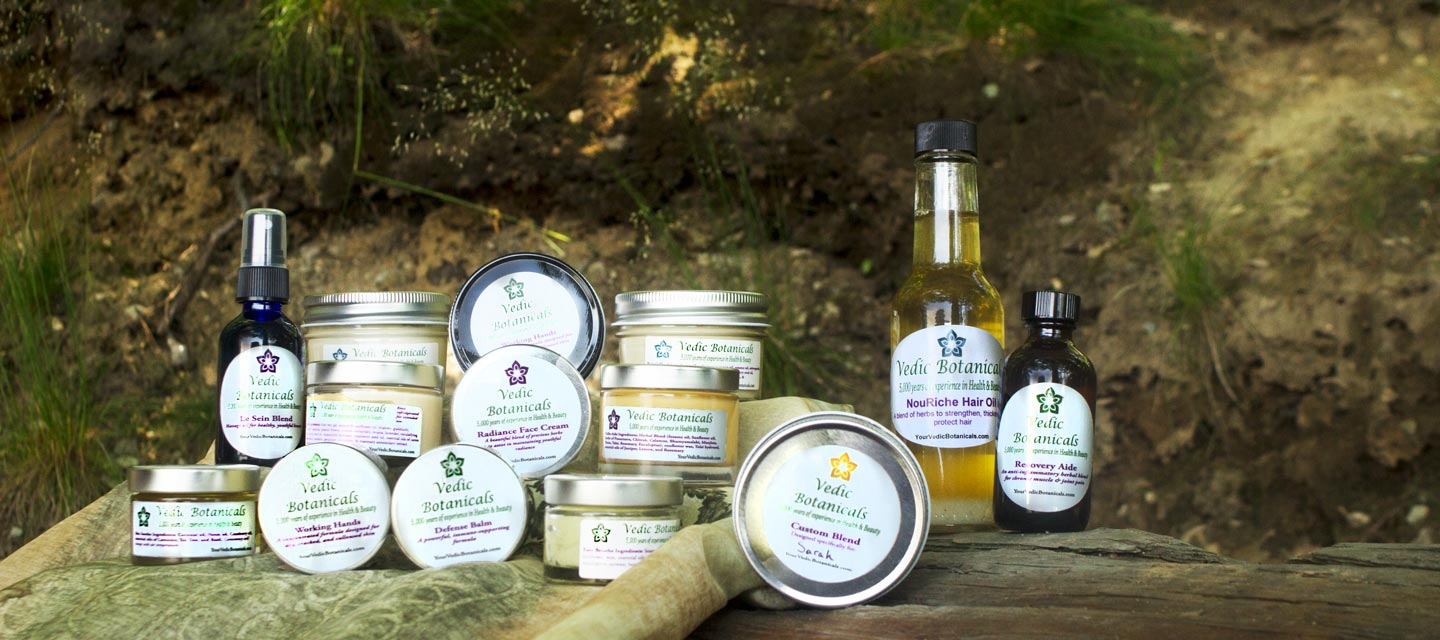 An array of various Vedic Botanicals products