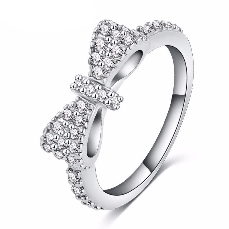 Elegant Silver Plated Bow Ring