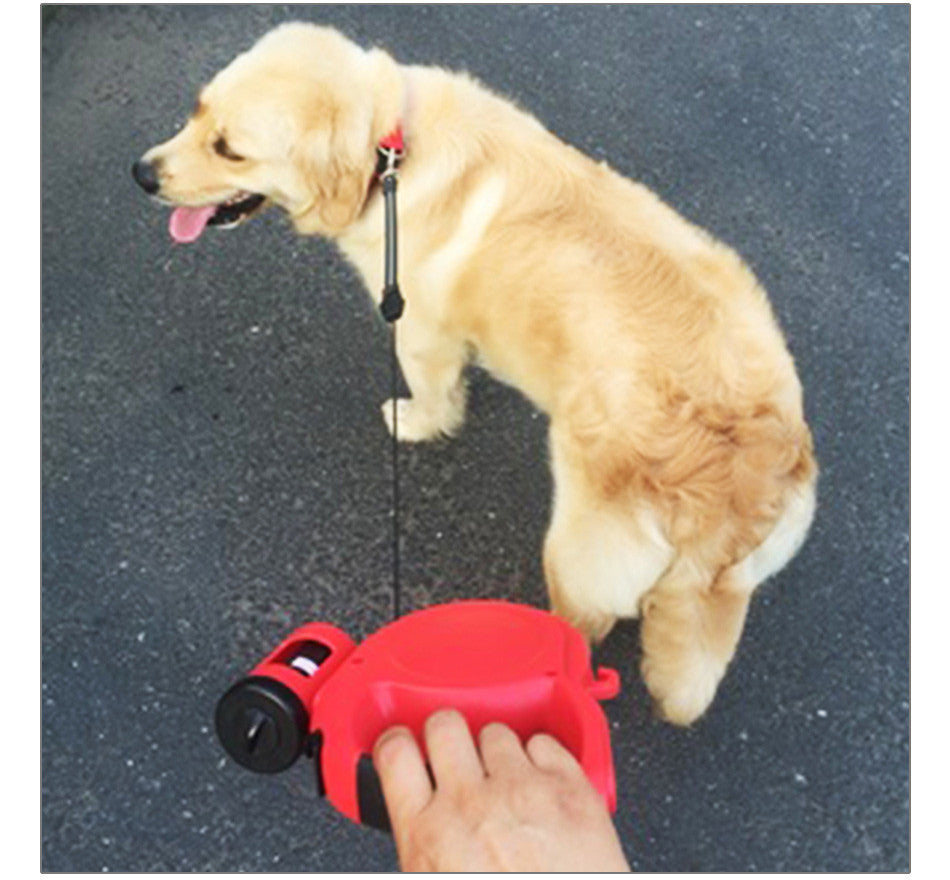 Retractable Dog Leash with Garbage Bag Dispenser