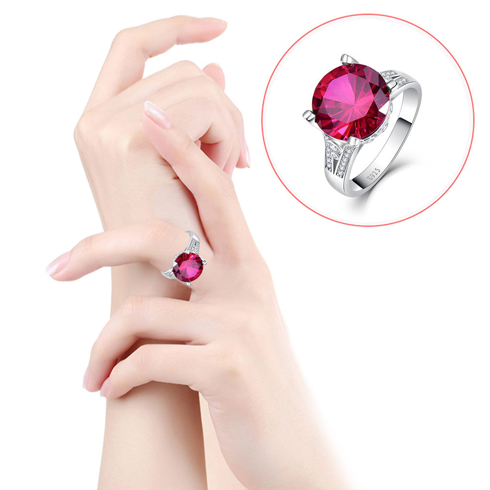 8CT Round Cut Gorgeous Red Ruby Ring In 925 Silver Silver