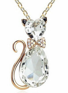 Cat pendant crystal necklaces