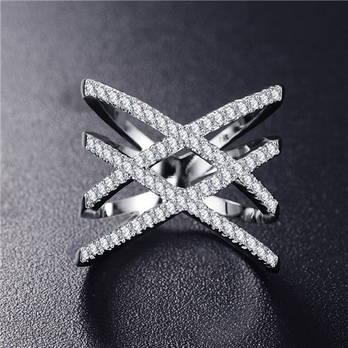 Double Letter X Shape Silver Ring