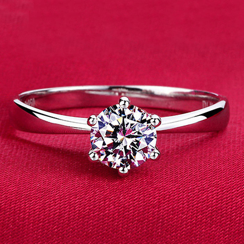 Six Claw 1 Carat 6mm Silver Plated - CZ Diamond Ring