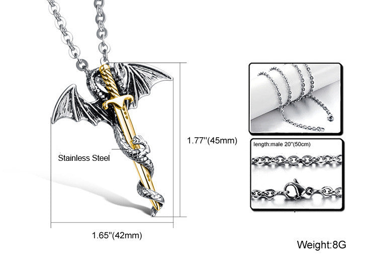 Stainless Steel Dragon - Sword Pendant Necklace