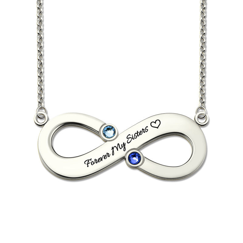 Personalized Infinity Birthstone Name Necklace