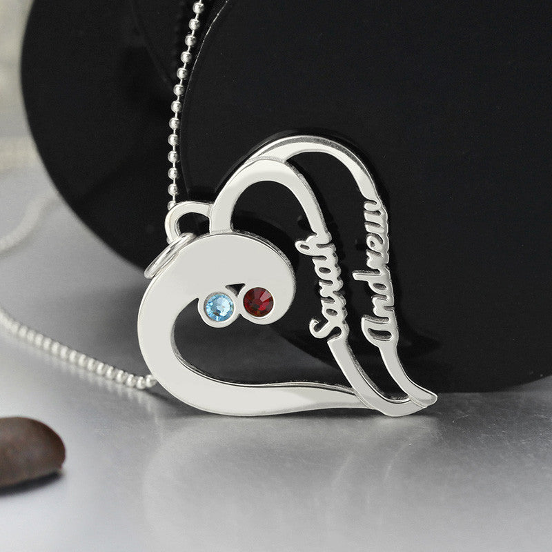 Personalized Heart Necklace With Birthstones & Names - In 925 Sterling Silver