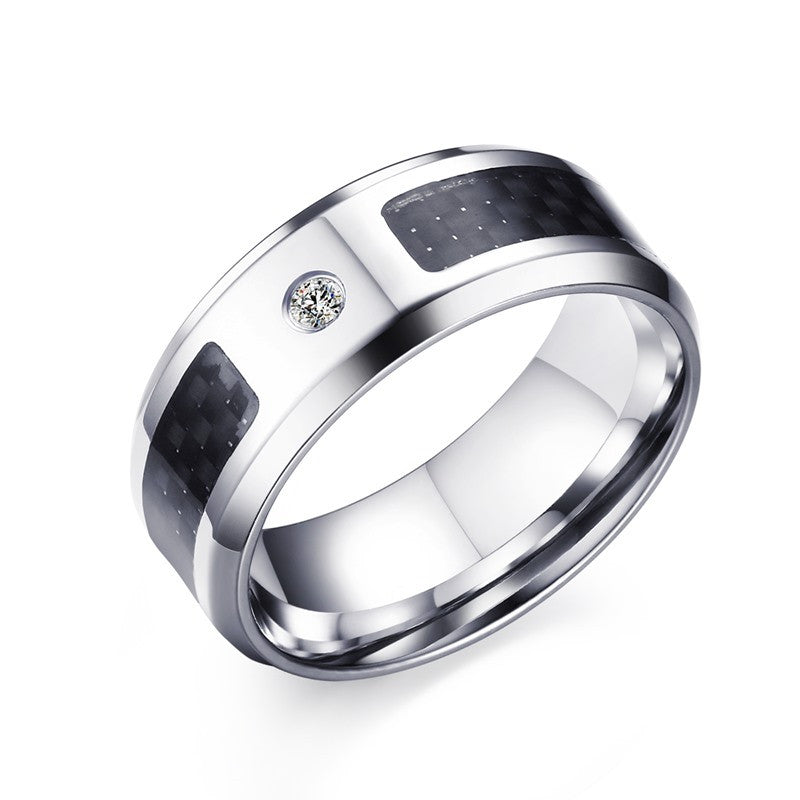 Men's Titanium - Platinum Zircon Ring