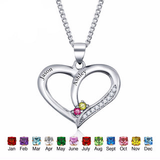 Personalized, Engrave Name & Birthstone Heart 925 Sterling Silver Necklaces & Pendants