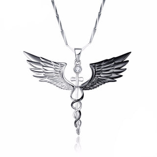 Angel Wings Cross With White CZ Stone Crafted in .925 Sterling Silver