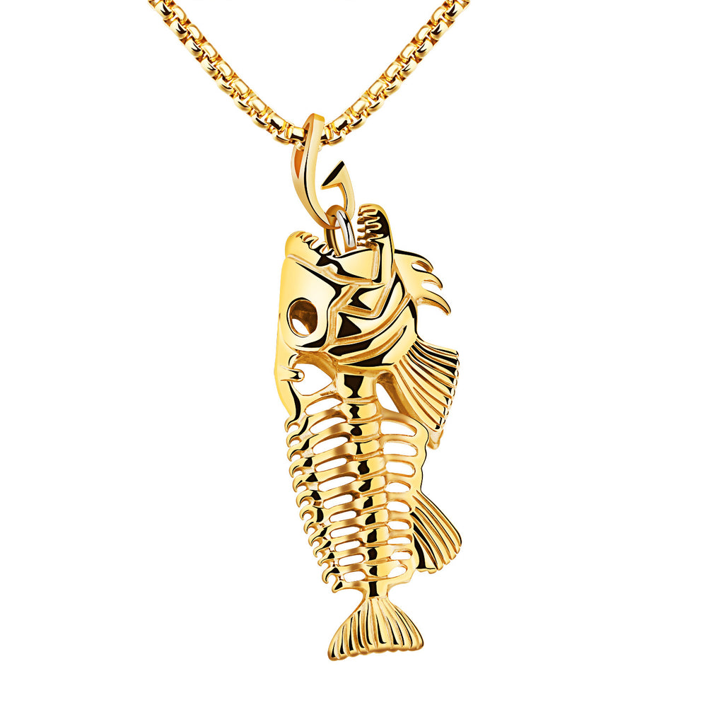 Stainless Steel Fish Bone & Hook Pendant Necklace
