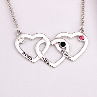 Triple Love Pendant Heart Necklace with Birthstone - Personalize Your own