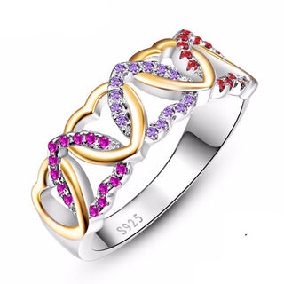 Ruby, Amethyst & Garnet 925 Solid Sterling Silver Heart Love Ring