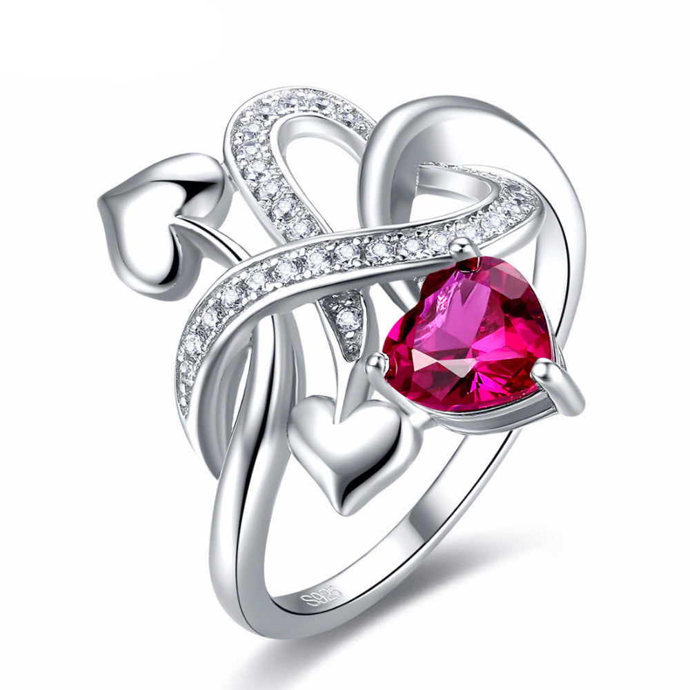 Red Ruby Solitaire Stone Ring Crafted in .925 Sterling Silver