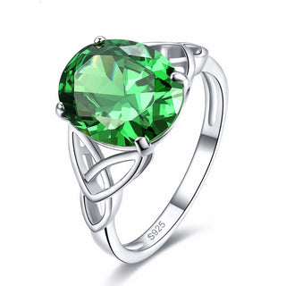 925 Sterling Silver Rings with Emerald Quartz Solitaire Stone