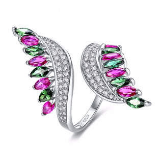 Genuine 925 Sterling Silver Ring With Ruby & Emerald