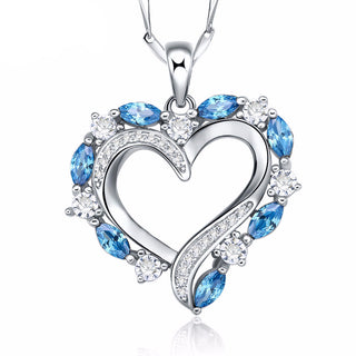 Genuine .925 Sterling Silver London Blue Topaz Stones Pendant