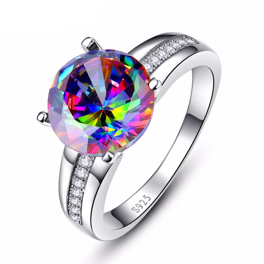dropship white mystic product rainbow stone with opal topaz wholesale fire rings and black