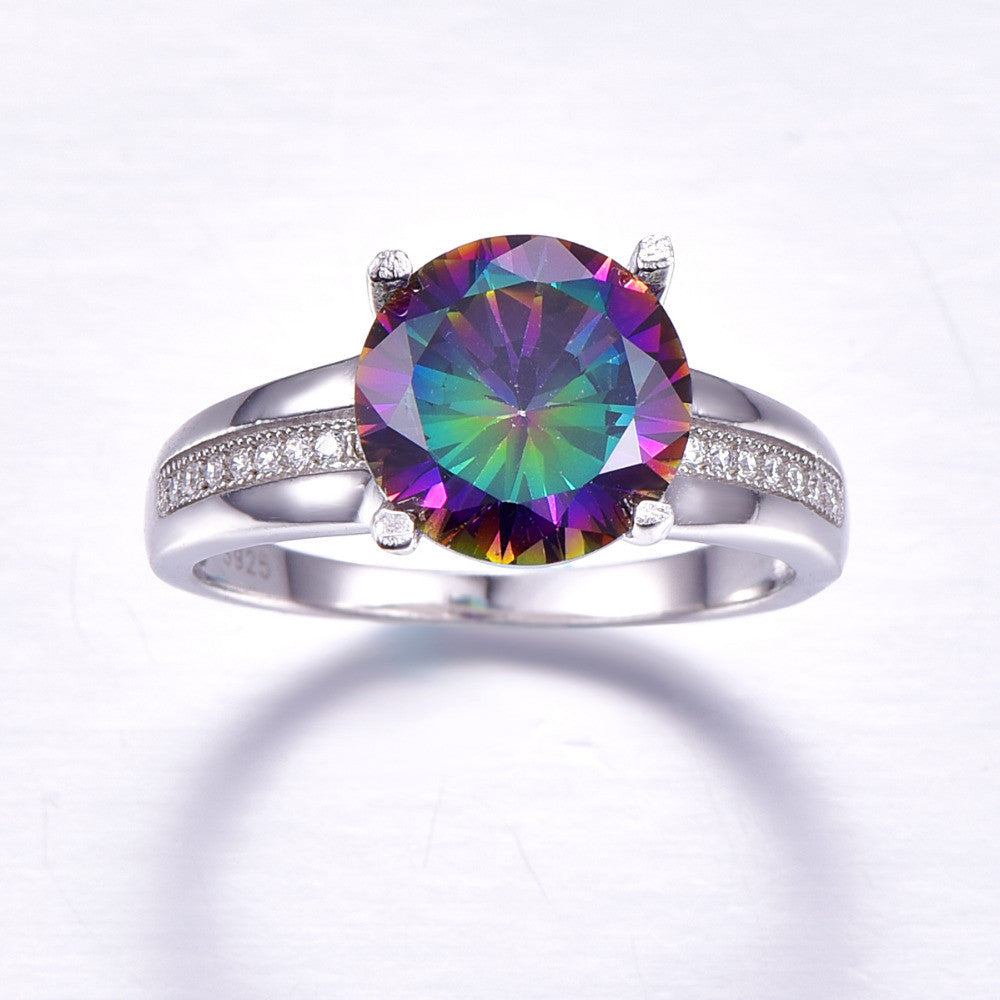 6.3 Carat Noble Rainbow Fire Mystic Topaz Ring - Crafted in 925 Solid Sterling Silver