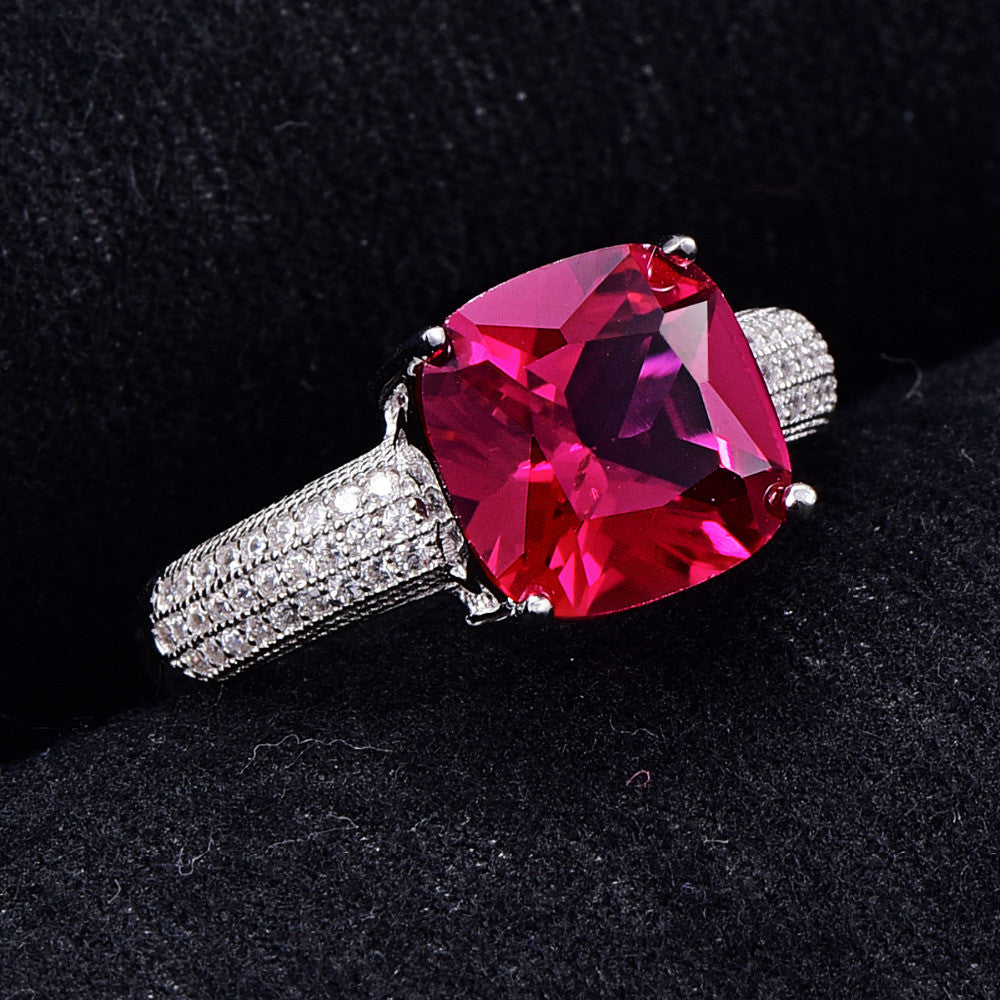 5.1CT Ruby Wedding Ring -100% Solid 925 Sterling Silver