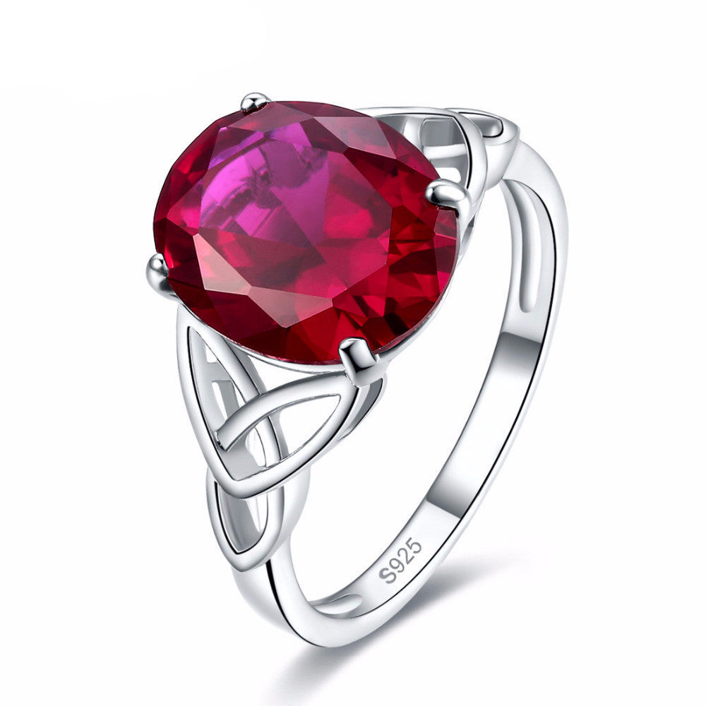 5.6ct Ruby Solitaire Ring In Solid 925 Sterling Silver