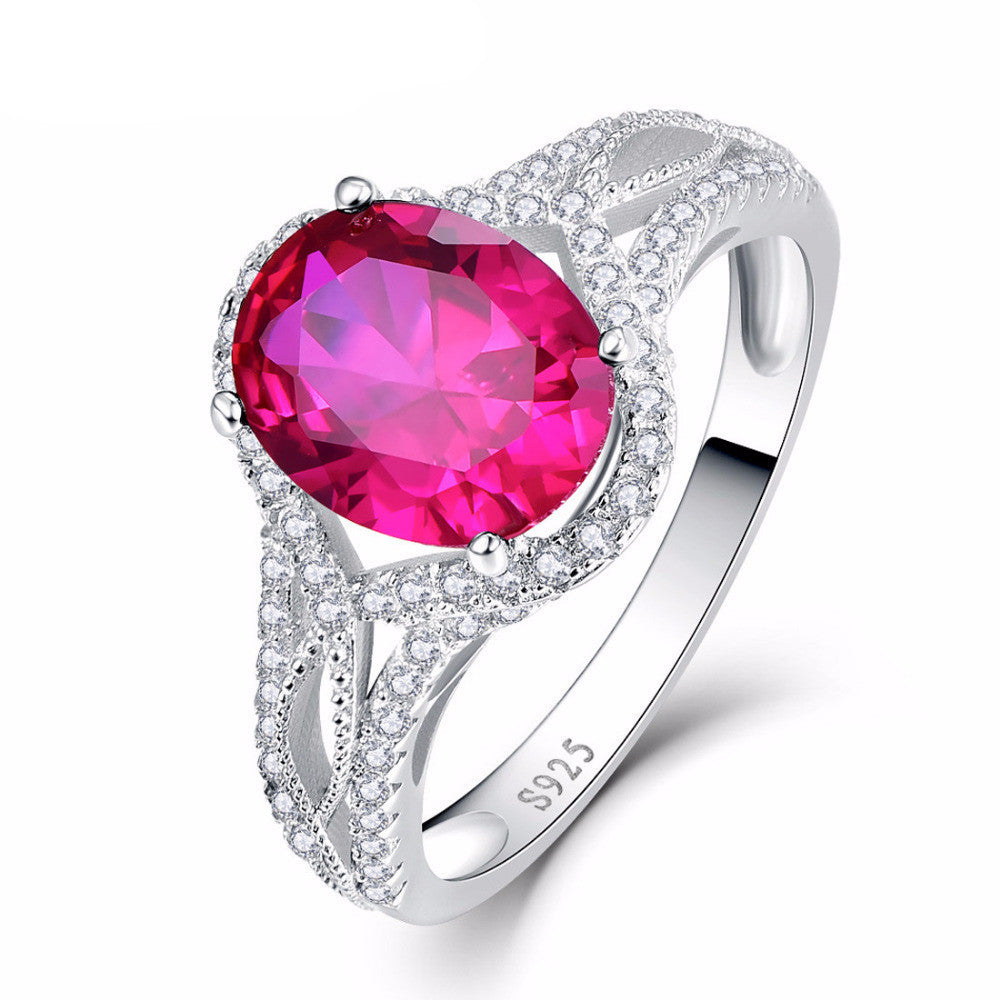 Oval Cut Ruby Stone Ring In 925 Sterling Silver