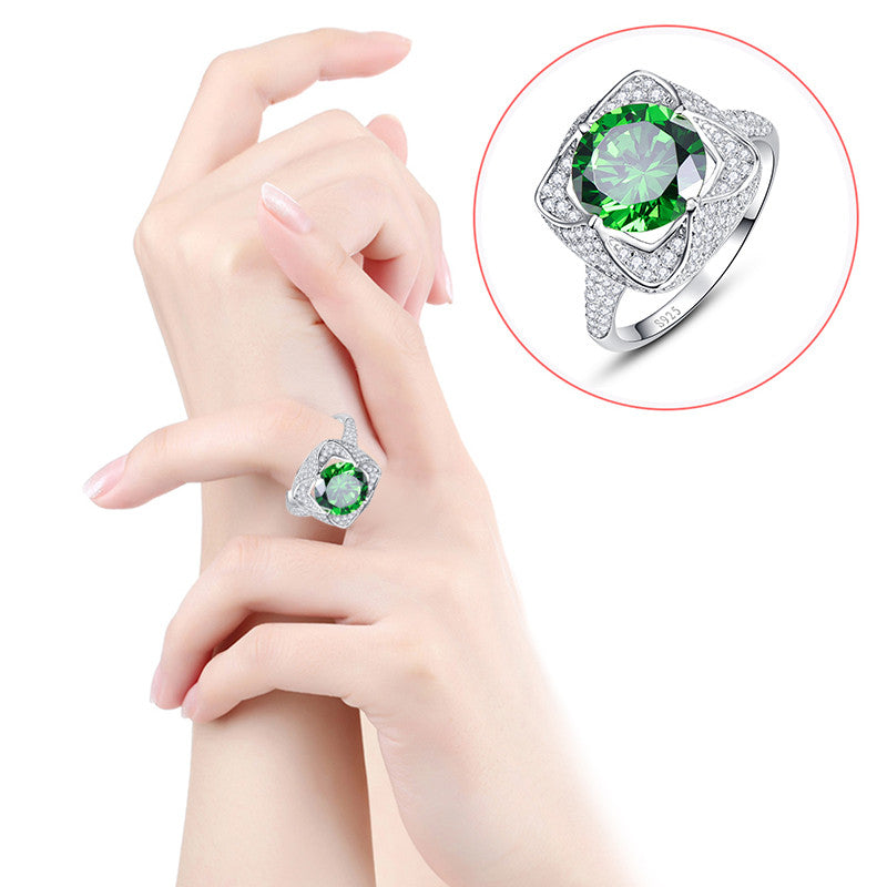 6.5 Carat Genuine Emerald 925 Sterling Silver Ring