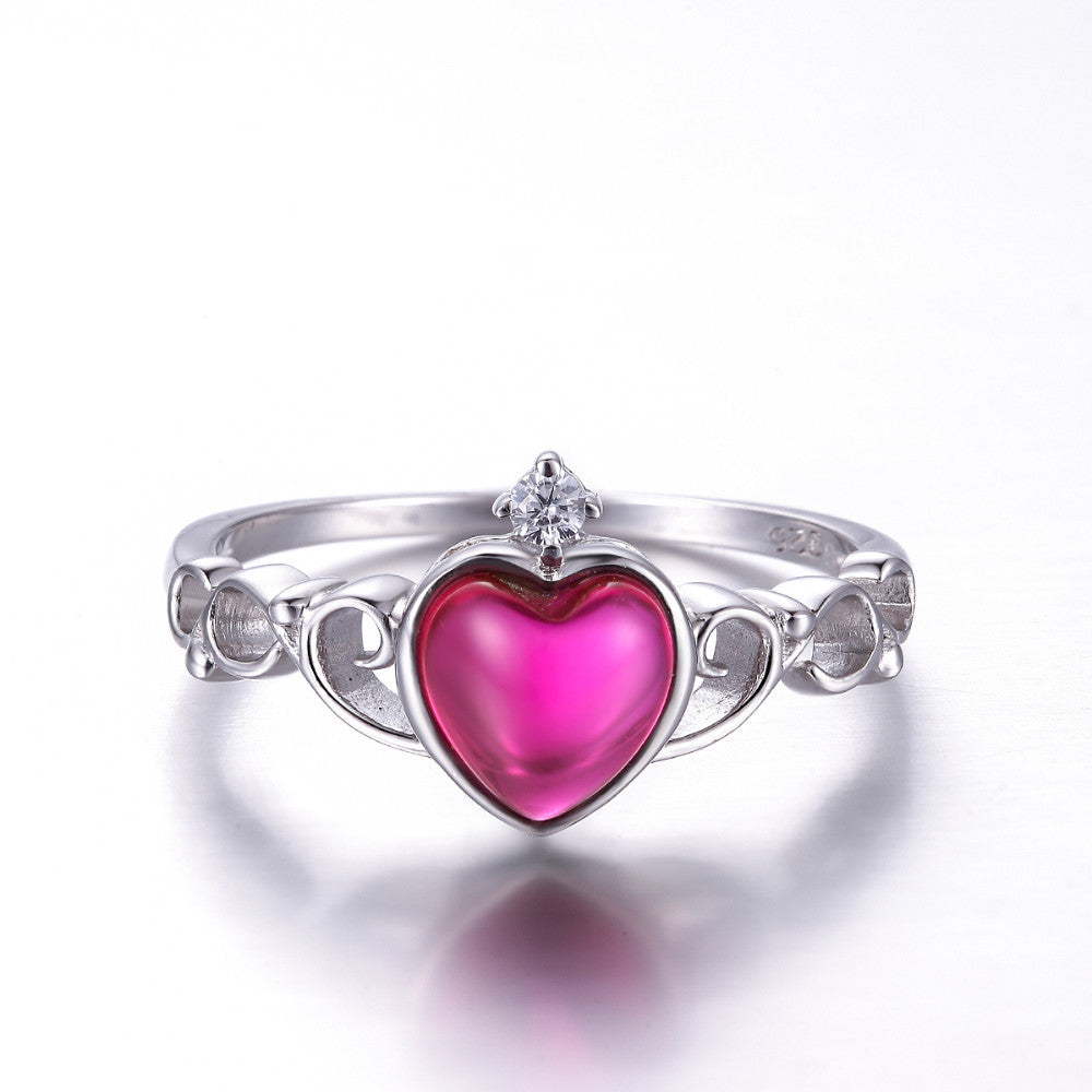Heart Cut Ruby Solid 925 Sterling Silver Ring