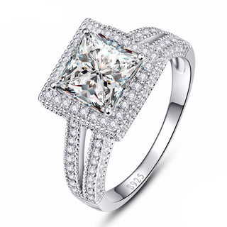 Princess CZ Diamond Ring In 925 Sterling Silver