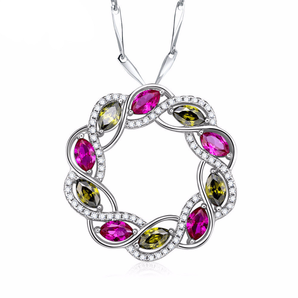 High-end Multi-colored .925 Sterling Silver Pendant With Peridot & Ruby 2.77CT Stones