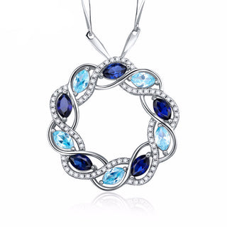 Classic Pendant Crafted In .925 Sterling Silver - Swiss Blue Topaz & Sapphire 2.77CT Stones