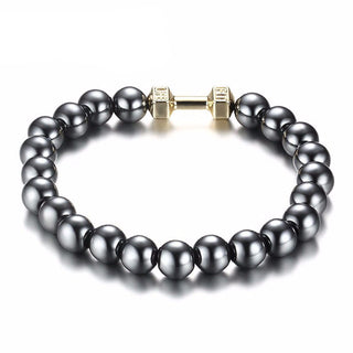 Dumbbell Beads Bracelet - Gray Hematite