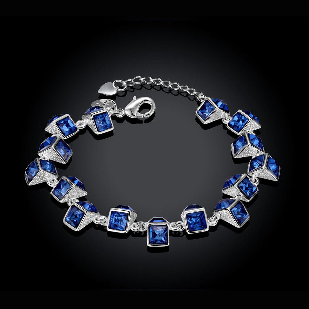 Royal Blue CZ Diamond Bracelet In 925 Sterling Silver