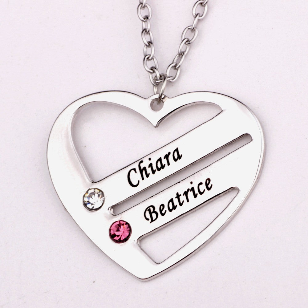 Double Love Pendant Heart Necklace with Birthstone