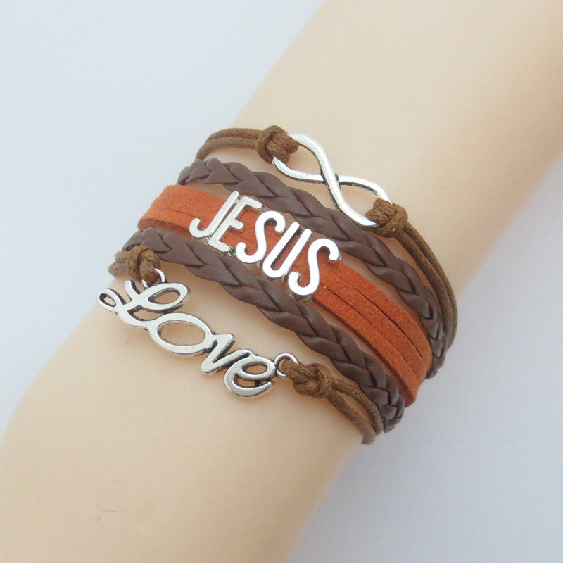 Jesus Infinity Leather Bracelet