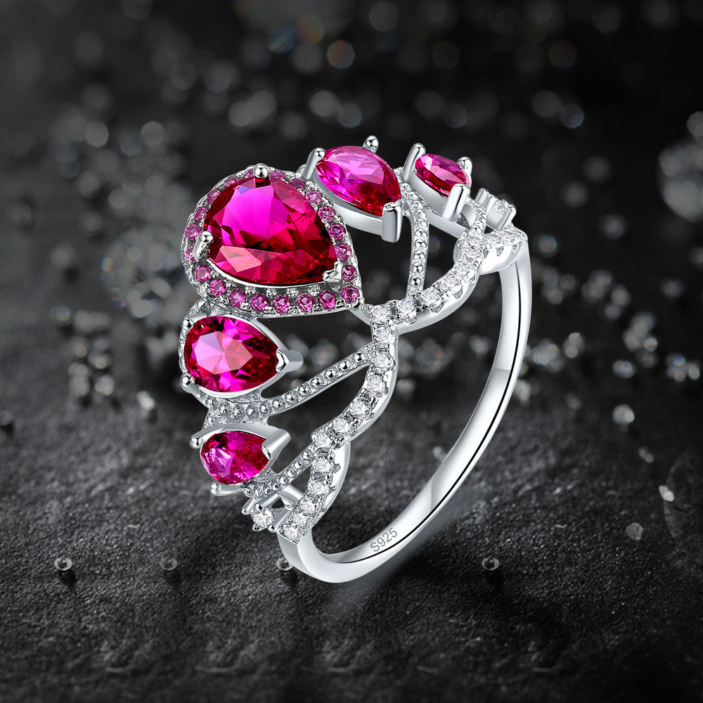 Water-drop 4.9ct Created Red Ruby Engagement Ring In 925 Sterling Silver