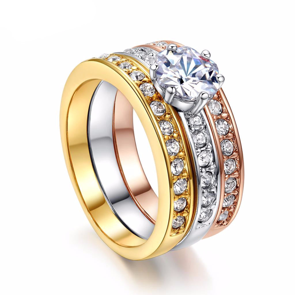 3 Round CZ Diamond Paved Engagement Ring Set