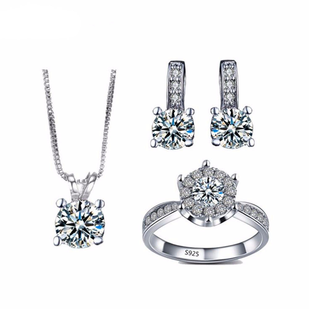 AAA CZ Diamond Jewelry Sets = 1necklace+1 pair earring+1ring