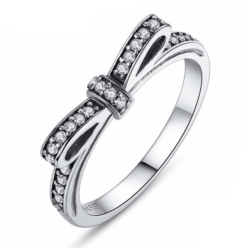 Sparkling Bow Knot Stack-able Ring- 925 Sterling Silver