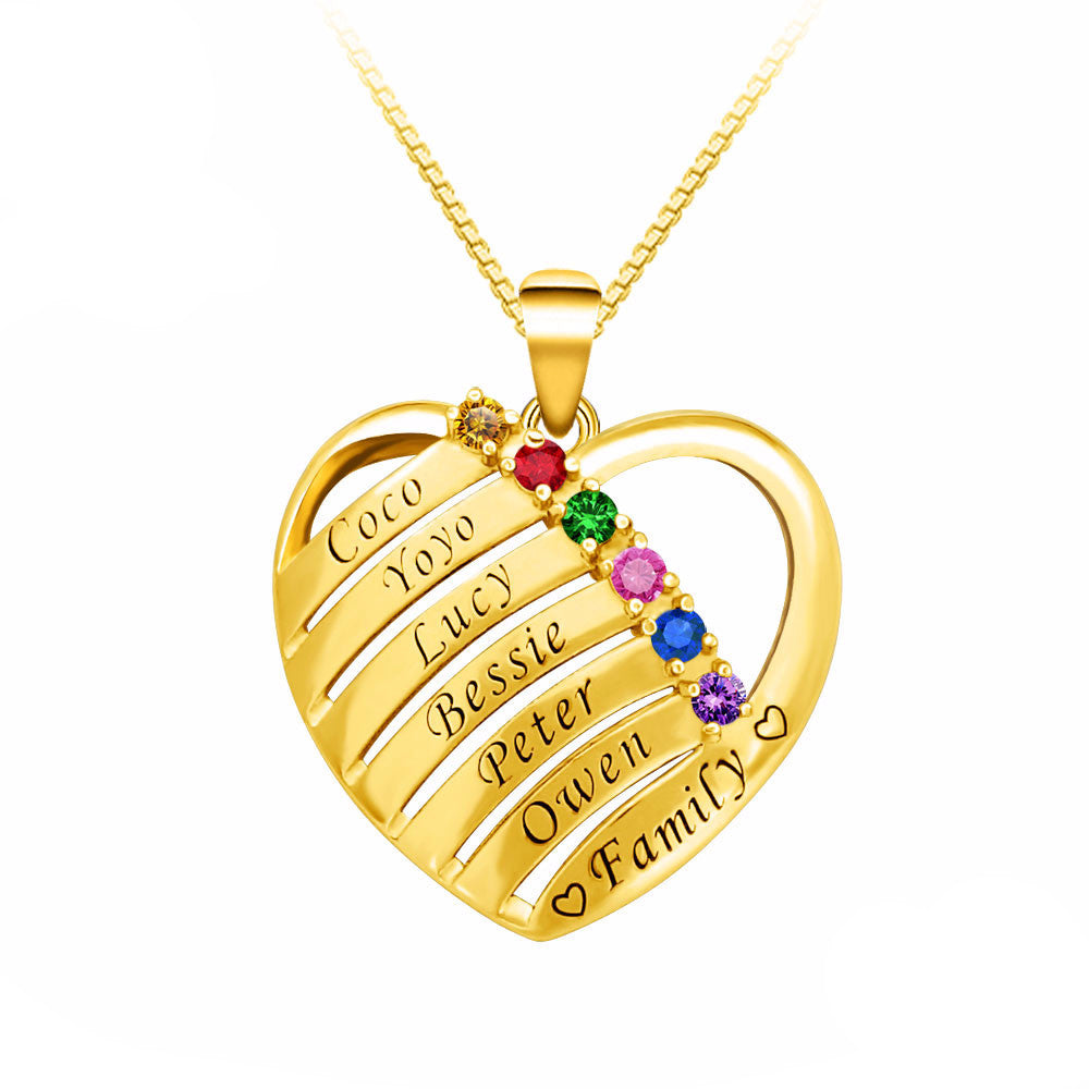Personalized Name & Birthstones Heart Necklace