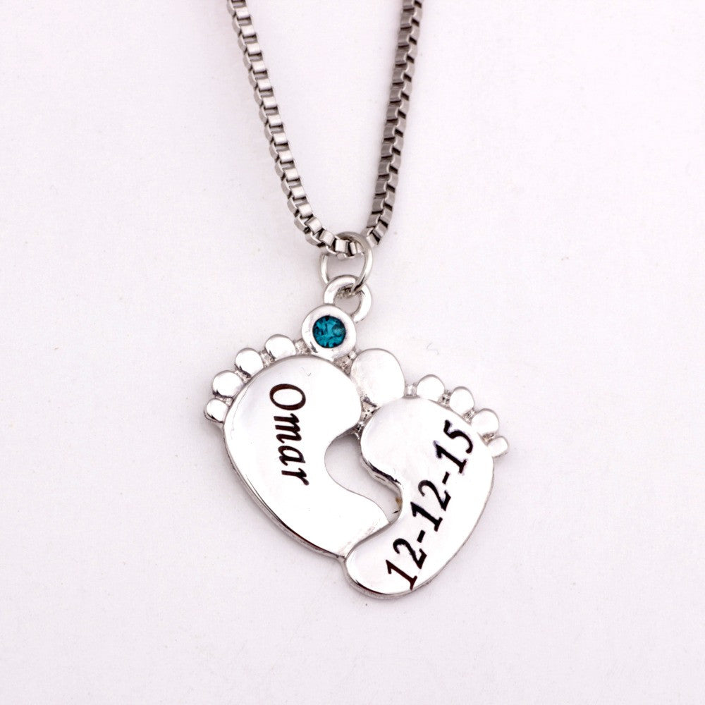 Personalized Baby Feet Pendant Necklace with Birthstones