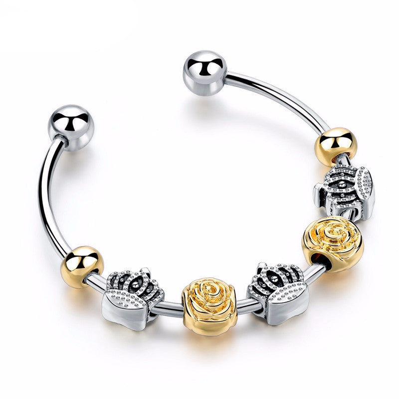Luxury Crown Gold & Silver Beads Bangle