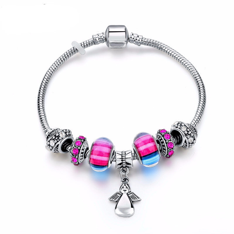 Colorful Crystal Silver Beads Bracelet