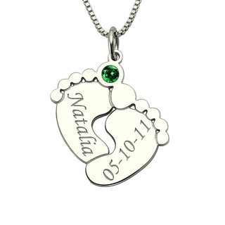 Personalized Baby Feet Necklace with Birthstone