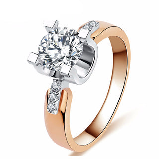 Vintage Rose gold CZ diamond Ring