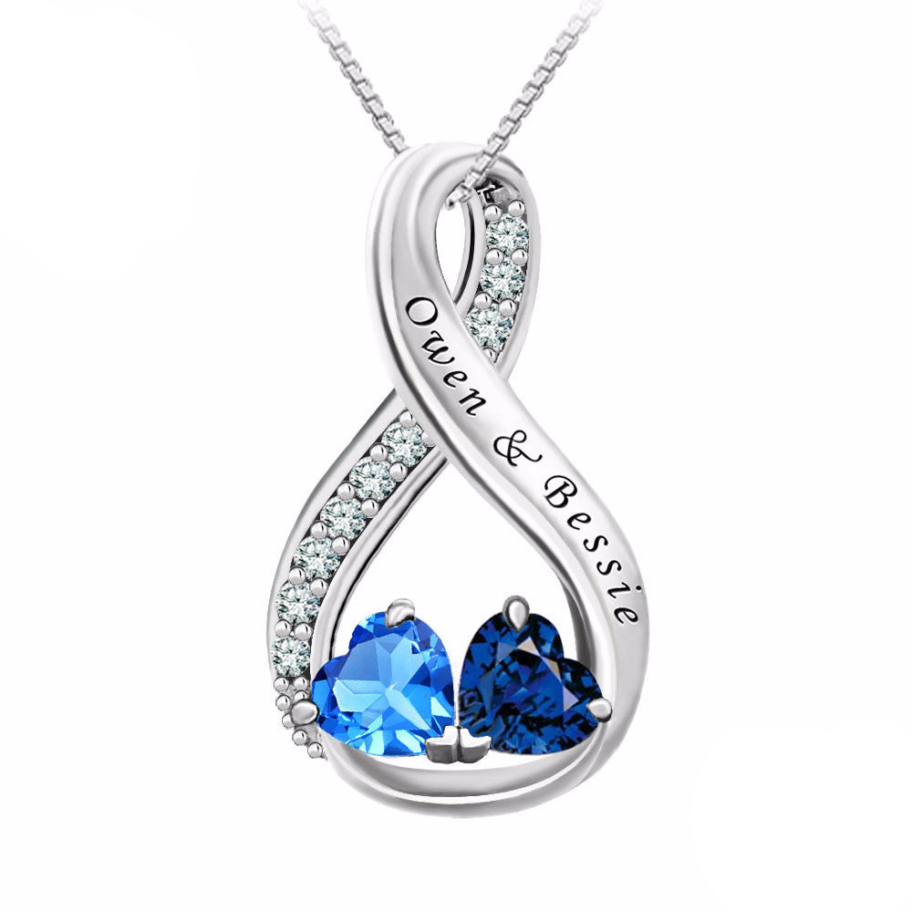 Personalized Name & Birthstones Necklace - In 925 Sterling Silver