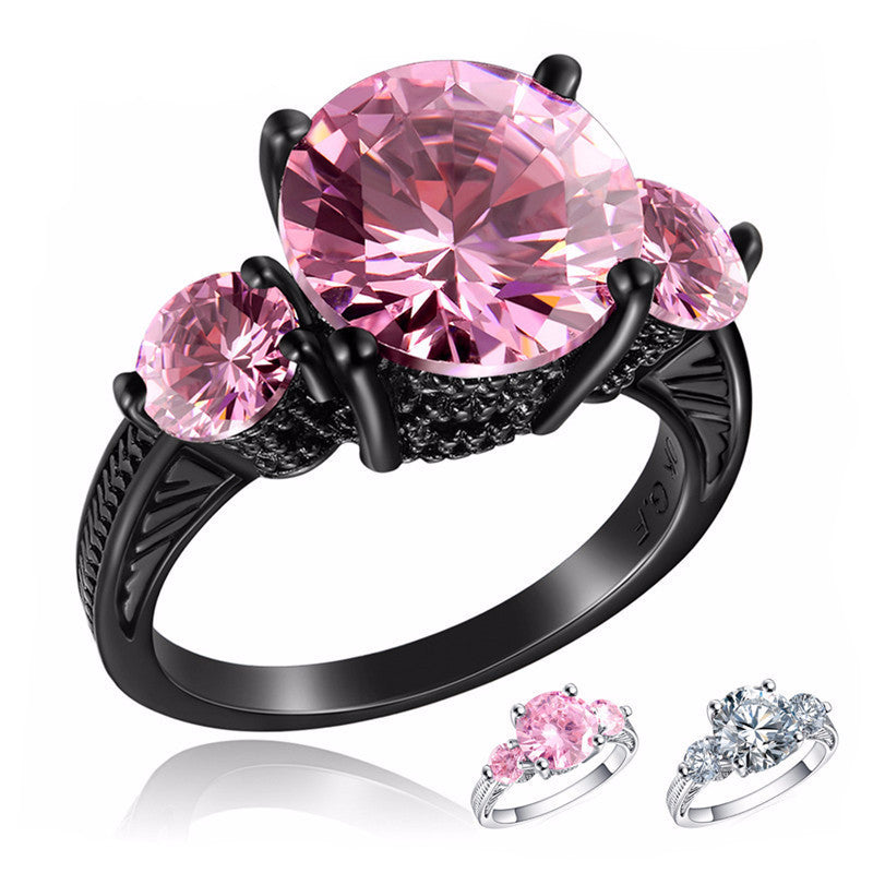 Charming Amethyst Ring with CZ Zircon Stone