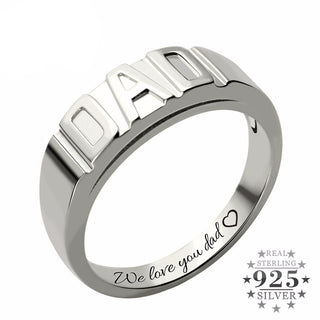 Personalized DAD's Ring - 925 Sterling Silver