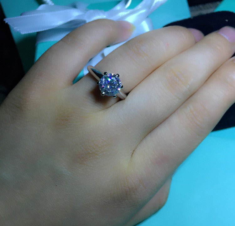 1 Carat Sona CZ Diamond Engagement Ring