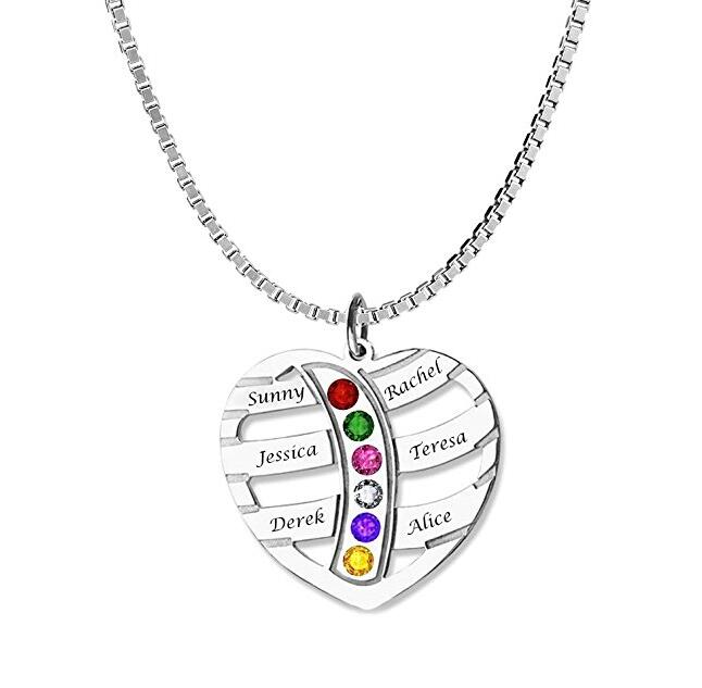 Exquisite Heart Pendant Name and Birthstone Necklace
