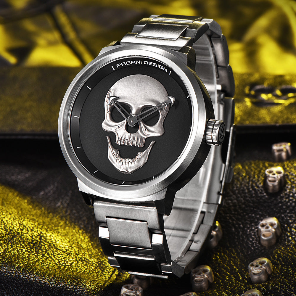 Stainless Steel 3D Skull Wrist Watch